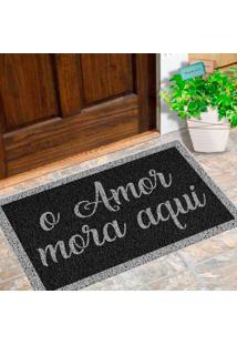 Capacho De Vinil O Amor Mora Aqui Cinza