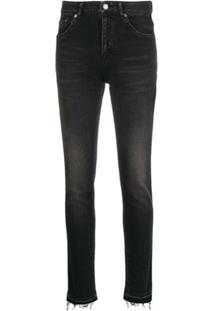 Saint Laurent Calça Jeans Bootcut Com Lavagem - Preto