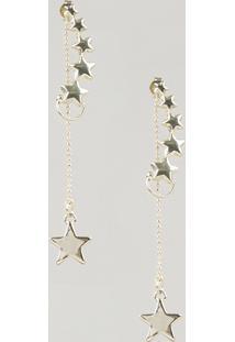 Brinco Feminino Com Estrelas Dourado - Único