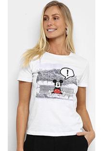 Camiseta Cativa Disney Mickey Feminina - Feminino-Branco