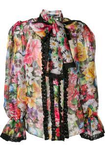 Dolce & Gabbana Puff Structured Floral Blouse - Preto