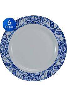 Conjunto Pratos Rasos Azulejo 6 Peças - Schmidt - Branco / Azul