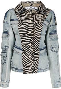Almaz Jaqueta Jeans Com Estampa De Zebra - Azul