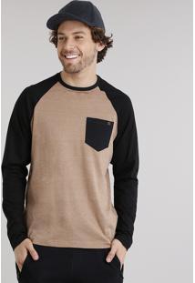 Camiseta Masculina Raglan Com Bolso Manga Longa Gola Careca Caramelo