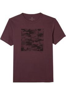 Camiseta Dudalina Manga Curta Malha Estampado Camuflado Masculina (Vinho, P)