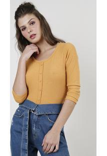 Blusa Feminina Básica Cropped Com Botões Manga Longa Mostarda 1