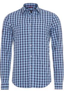 Camisa Masculina Traveller Melange Xadrez - Azul
