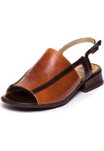 Sandalia Salto Baixo Feminina - Papaya / Chocolate 7734