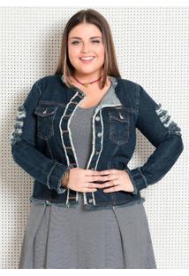 Jaqueta (Jeans) Com Detalhes Desfiados Plus Size