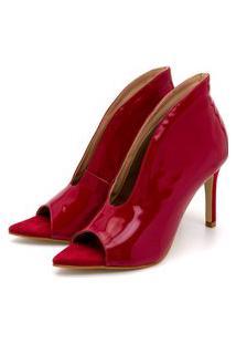 Sapato Scarpin Abotinado Salto Alto Fino Em Napa Verniz Vermelho Confort
