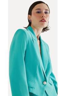 Blazer Cropped Havana Eva - Feminino-Azul Turquesa