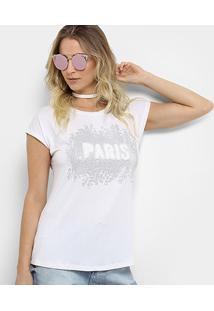 Camiseta Facinelli Paris Pelúcia Feminina - Feminino-Branco