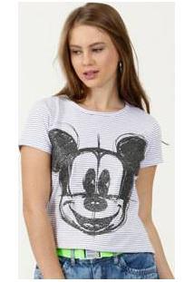 Blusa Feminina Listrada Estampa Mickey Disney