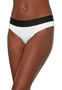 Calcinha Calvin Klein Underwear Fio Dental Lettering Branca/Preta