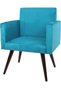 Poltrona Decorativa Pés Palito Tabaco Nina Suede Azul - Ds Móveis - Kanui