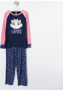 Pijama Oncinha- Azul Marinho & Rosa- Puketpuket