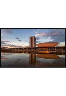 Quadro Decorativo BrasãLia- Preto & Azul- 80X60Cm