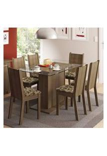 Conjunto Sala De Jantar Madesa Gales Mesa Tampo De Vidro Com 6 Cadeiras Rustic/Bege Marrom