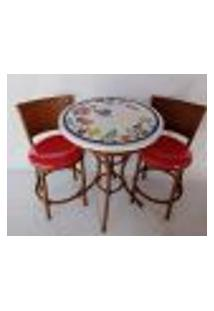 Conjunto De Mesa Varanda Gourmet Com Mosaico Florido Com 2 Cadeiras 60 Cm
