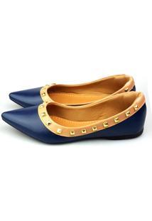 Sapatilha Love Shoes Bico Fino Valentino Spike Azul Marinho