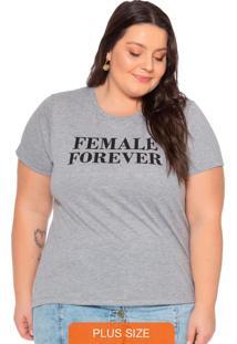T-Shirt Feminina Em Meia Malha Com Escrita Cinza