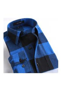 Camisa Xadrez Masculina Slim Fit Alabama - Azul E Preto