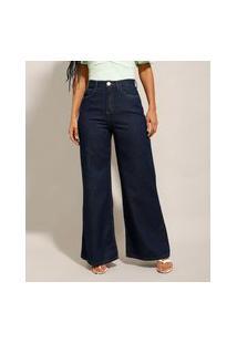 Calça Wide Pantalona Jeans Cintura Super Alta Azul Escuro