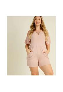 Macaquinho Plus Size Feminino Open Shoulder