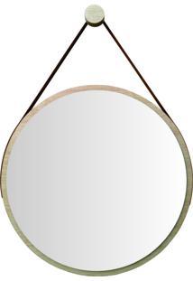 Espelho Redondo Adnet Minimalista Natural Com Alça Caramelo + Pendurador 60Cm