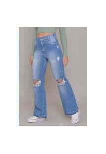 Calça Jeans Dialogo Flare Marmorizada Com Puídos Rasgos