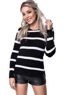 Blusa Helena Tricot Alice Listrado Feminino - Feminino-Preto+Branco