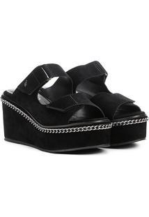Sandália Plataforma Ellus Tiras Velcro Correntes Feminina - Feminino-Preto