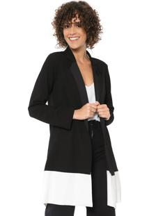 Blazer Mercatto Color Block Preto/Off-White