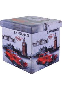 Puff Baú Quadrado Com Tampa Estampa London Car