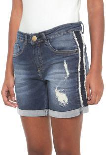Bermuda Jeans Enfim Reta Destroyed Azul