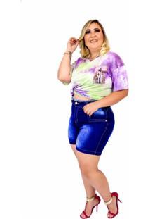Short Jeans Feminino Plus Size Com Lycra Cintura Alta Cos Desfiado Azul Escuro
