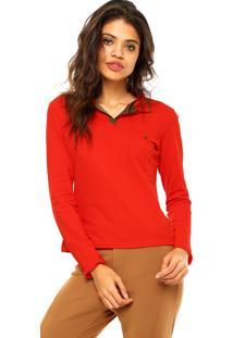 Camisa Polo Manga Longa Malwee Logo Vermelha