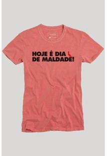 Camiseta Reserva Dia De Maldade Texto Masculina - Masculino-Coral