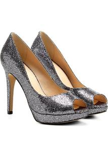 Peep Toe Shoestock Meia Pata Glitter - Feminino
