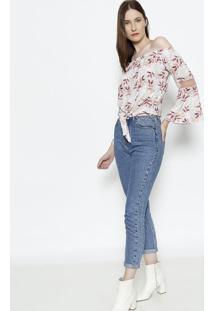Blusa Ciganinha Com Tela - Cinza & Rosaendless