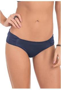Calcinha Conforto Em Microfibra Drapeada Com Proteção Permanente - Feminino-Azul