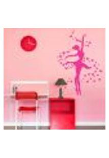 Adesivo De Parede Bailarina Rosa Para Quarto De Menina