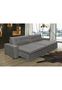 Sofá Retrátil, Reclinável Oklahoma 2,32M, Molas E Pillow No Assento Tecido Suede Cinza Cama Inbox