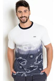 Camiseta Nicoboco Slim Fit Digital Araia Branca