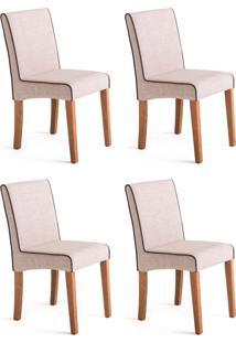 Conjunto Com 4 Cadeiras De Jantar Dora I Creme E Castanho