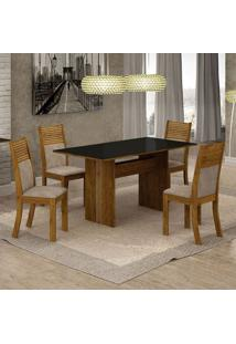 Conjunto De Mesa De Jantar Florença Ii Com 4 Cadeiras Havaí Suede Preto E Marrom