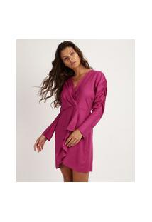 Vestido Feminino Curto Com Babado Manga Longa E Decote V Com Transpasse Pink