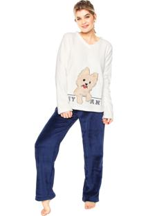 fd6055b5729c77 Pijama Any Any Soft York Branco/Azul-Marinho