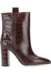 Paris Texas Ankle Boot Com Efeito Pele De Crocodilo - Marrom