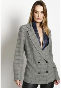 c15e1f70d8 Blazer Cinza Xadrez feminino
